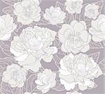Seamless floral pattern. Background with peonies and cherry blossom flowers.