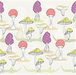 Abstract cute seamless colorful mushroom pattern. Autumn pattern