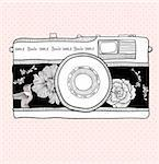 Background with retro camera. Vector illustration. Photo camera with flowers and birds. Camera with floral pattern. Stock Photo - Royalty-Free, Artist: lapesnape                     , Code: 400-05685268