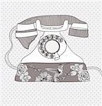 Background with retro telephone. Vector vintage illustration. Telephone with flowers and birds. Phone with floral pattern. Stock Photo - Royalty-Free, Artist: lapesnape                     , Code: 400-05685291