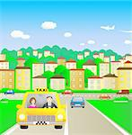Summer city and taxi with beautiful passenger Stock Photo - Royalty-Free, Artist: keltt                         , Code: 400-05685436