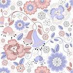 Gentle white seamless pastel floral pattern with pink and blue flowers (vector) Stock Photo - Royalty-Free, Artist: OlgaDrozd                     , Code: 400-05686099
