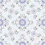 Gentle gray seamless pattern with blue and white flowers (vector) Stock Photo - Royalty-Free, Artist: OlgaDrozd                     , Code: 400-05686100