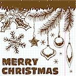Christmas scrawl on a piece of a school notebook, element for design, vector illustration Stock Photo - Royalty-Free, Artist: TAlex                         , Code: 400-05686199