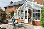 Exterior Of House With Conservatory And Patio Stock Photo - Royalty-Free, Artist: MonkeyBusinessImages          , Code: 400-05686463