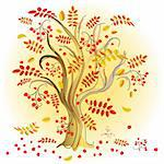 Abstract autumn tree with colorful leaves and red  berries (vector) Stock Photo - Royalty-Free, Artist: OlgaDrozd                     , Code: 400-05686473