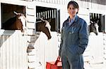 Portrait Of Vet Standing By Horse Stables Stock Photo - Royalty-Free, Artist: MonkeyBusinessImages          , Code: 400-05686816