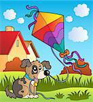 Autumn scene with dog and kite - vector illustration.