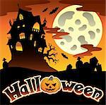 Halloween scenery with sign 1 - vector illustration. Stock Photo - Royalty-Free, Artist: clairev                       , Code: 400-05686876