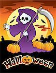 Halloween scenery with sign 4 - vector illustration. Stock Photo - Royalty-Free, Artist: clairev                       , Code: 400-05686879