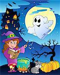Scene with Halloween theme 4 - vector illustration.