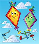 Two flying kites on blue sky - vector illustration.