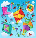 Various flying kites on blue sky - vector illustration. Stock Photo - Royalty-Free, Artist: clairev                       , Code: 400-05686887