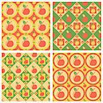 set of 4 cute apples patterns Stock Photo - Royalty-Free, Artist: LxIsabelle                    , Code: 400-05686997