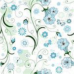 White seamless floral pattern with blue flowers and butterflies (vector) Stock Photo - Royalty-Free, Artist: OlgaDrozd                     , Code: 400-05687869