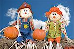 Scarecrow couple with autumn pumpkins on hay bales. Stock Photo - Royalty-Free, Artist: 14ktgold                      , Code: 400-05689118
