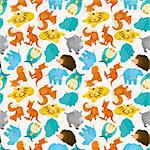 seamless cartoon animal pattern Stock Photo - Royalty-Free, Artist: notkoo2008                    , Code: 400-05689586