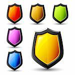 Vector shield icons, colous samples Stock Photo - Royalty-Free, Artist: Svjatogor                     , Code: 400-05690251