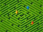 green maze with people in vector Stock Photo - Royalty-Free, Artist: Svjatogor                     , Code: 400-05690252