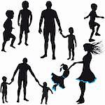 Silhouettes of woman, man, children, family, icon vector illustration Stock Photo - Royalty-Free, Artist: svetap                        , Code: 400-05690284