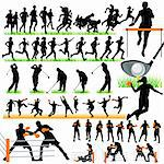 Sports silhouettes set Stock Photo - Royalty-Free, Artist: kaludov                       , Code: 400-05690493