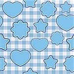 Seamless pattern with blue applications on checkered background (vector) Stock Photo - Royalty-Free, Artist: Linusy                        , Code: 400-05690501