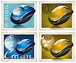 Four stamps with the mouse, globe and symbol e-mail Stock Photo - Royalty-Free, Artist: catalby                       , Code: 400-05690529
