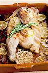 chicken baked on lemons Stock Photo - Royalty-Free, Artist: phbcz                         , Code: 400-05690781