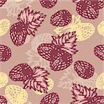 abstract vector seamless retro background with raspberry Stock Photo - Royalty-Free, Artist: SelenaMay                     , Code: 400-05692148