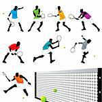 Tennis Players Silhouettes Set Stock Photo - Royalty-Free, Artist: kaludov                       , Code: 400-05692229