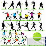 Tennis Players Silhouettes Set Stock Photo - Royalty-Free, Artist: kaludov                       , Code: 400-05692230