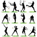 Tennis Players Silhouettes Set Stock Photo - Royalty-Free, Artist: kaludov                       , Code: 400-05692231