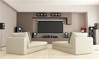 elegant living room with home theatre system - rendering Stock Photo - Royalty-Freenull, Code: 400-05692387