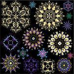 Collection colorful snowflakes on black (vector) Stock Photo - Royalty-Free, Artist: OlgaDrozd                     , Code: 400-05692735