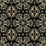 Gold and  black seamless pattern with arabic ornament (vector) Stock Photo - Royalty-Free, Artist: OlgaDrozd                     , Code: 400-05692803