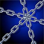 Chain. Illustration on blue background for design