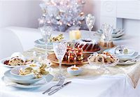 Place setting for Christmas in white tone Stock Photo - Royalty-Freenull, Code: 400-05693123