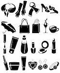 Silhouette set of different woman's things Stock Photo - Royalty-Free, Artist: nurrka                        , Code: 400-05693243