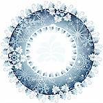 Christmas blue round frame on white background (vector) Stock Photo - Royalty-Free, Artist: OlgaDrozd                     , Code: 400-05693294
