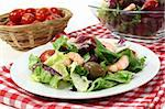 mixed leaf salad with shrimp and tomatoes Stock Photo - Royalty-Free, Artist: silencefoto                   , Code: 400-05693732