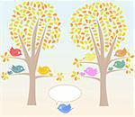 Greeting card with cute birds under tree vector Stock Photo - Royalty-Free, Artist: fotoscool                     , Code: 400-05694042