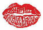 Lipstick print on a white background. Vector