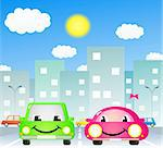 two cute cartoon car in city road Stock Photo - Royalty-Free, Artist: keltt                         , Code: 400-05694132