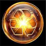 Recycling symbol icon fire, isolated on black background. Stock Photo - Royalty-Free, Artist: zeffss                        , Code: 400-05694329