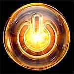 Power icon fire, isolated on black background