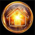 House icon fire, isolated on black background Stock Photo - Royalty-Free, Artist: zeffss                        , Code: 400-05694346