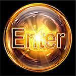 Enter icon fire, isolated on black background. Stock Photo - Royalty-Free, Artist: zeffss                        , Code: 400-05694349
