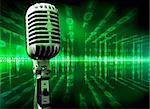 Musical technology background with microphone and screen Stock Photo - Royalty-Free, Artist: carloscastilla                , Code: 400-05694663