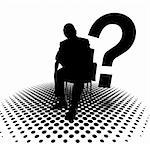 Illustration of anonymous silhouette of man and question mark Stock Photo - Royalty-Free, Artist: carloscastilla                , Code: 400-05694667