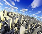 3d city with skyscraper,modern buildings and blue sky Stock Photo - Royalty-Free, Artist: carloscastilla                , Code: 400-05694673